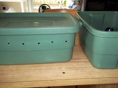 worm composting-I have seen many versions of homemade worm composting, but this is the first time I have seen the double bin.  I like it!