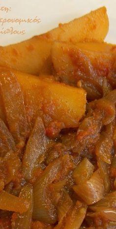Πατάτες στιφάδο - cretangastronomy.gr Buffalo Cauliflower, Greek Recipes, Sweet Potato, Carrots, Potatoes, Meals, Vegetables, Cooking, Food