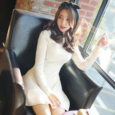 BRONCY - Rib-Knit A-Line Dress