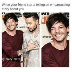 Cuando tu amigo empieza a contar una historia embarazosa de ti. Yo soy Louis,Todos Somos Louis.