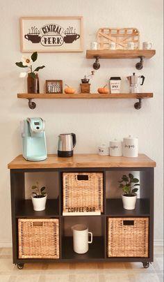 Coffee Nook, Coffee Bar Home, Coffee Corner Kitchen, Coffee Bar Design, Home Decor Kitchen, Home Kitchens, Diy Home Decor, Room Decor, Küchen Design