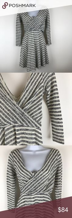 Free People striped dress Middles charcoal grey and cream striped free flowing dress. Deep V in front and back. Perfect condition, NWT! (Lot3oi Free People Dresses Long Sleeve