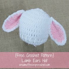 Make this Preemie/Newborn Lamb Ears Hats pattern for a spring baby! For a boy lamb, change the pink yarn to blue.