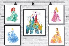 Disney Princess Watercolor Print Disney Art Movie Poster Cinderella Ariel Aurora Bella Painting Girls Room Decor Wall Hanging Gift Nursery -
