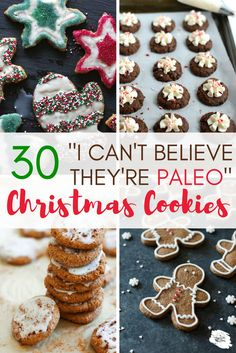 "30 ""I-Can't-Believe-They're-Paleo"" Christmas Cookie Recipes: Our best efforts to eat healthy often take a hit during the holidays. There are healthy and delicious options! Here are 30 Paleo Christmas Cookie Recipes to keep Cookies Healthy, Healthy Christmas Cookies, Christmas Desserts, Christmas Treats, Christmas Baking, Holiday Treats, Holiday Recipes, Christmas Recipes, Delicious Cookies"