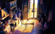 """concept art of Sulley and Mike's kitchen, Dominique Louis, 1997, pastel 25 x 16"""", layout by Harley Jessup /// did you know it was possible to do such beautiful things with pastel? I didn't"""