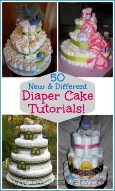 DIY diaper cake. Ideas and tutorials. So easy to do it yourself instead of spending a ton of money on one! #caketutorial