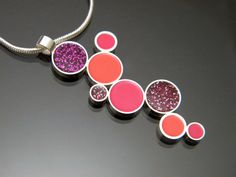 Sterling Silver Sparkle Fuchsia Hot Pink and Coral by bjsdesign, $135.00