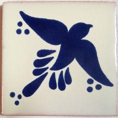 "C019- Mexican Handmade Talavera Clay Tile Folk Art 4X4"" Handpainted"