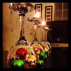 DIY Christmas decor candle holders.