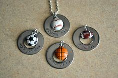 Sports necklace - Baseball  - Football  - Basketball  - Soccer  - Softball  - Volleyball - Sports mom necklace. $25.00, via Etsy.