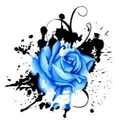 Polka Trash Drawings | Splash of Blue Rose by 13Leelee