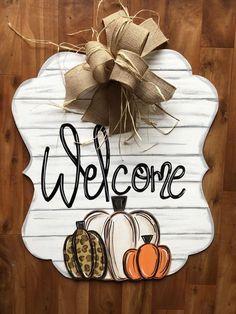 Fall Door Hanger - Pumpkin Door Hanger - Personalized Door Hanger - Fall Wreath- Fall Decor - fall D Halloween Door Hangers, Fall Door Hangers, Burlap Door Hangers, Letter Door Hangers, Plant Hangers, Fall Crafts, Holiday Crafts, Diy Crafts, Football Door Hangers