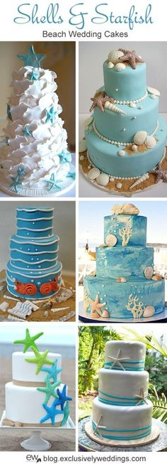 Shells and starfish beach wedding cake. Read more http://blog.exclusivelyweddings.com/2014/04/28/five-perfect-designs-for-your-beach-wedding-cake/