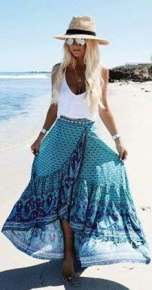white top + blue printed maxi skirt + beach hat / #spring #summer #outfits