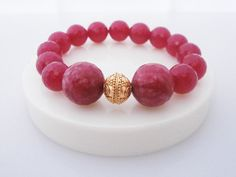 Red Jade and Gold Vermeil Bracelet by KartiniStudio on Etsy