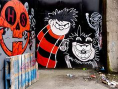 "Street Art in Cabra, Dublin, Ireland - Near Dalymount Park ""Dennis the Menace and Gnasher"". Children's Comics, Dennis The Menace, Abyssinian, Local Attractions, Dundee, Comic Book Heroes, Comic Strips, Fresco, Your Favorite"