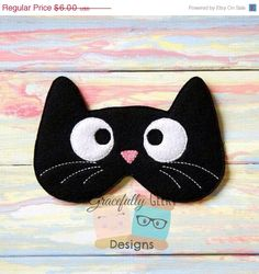 Items similar to Kitty Sleep Mask Embroidery Design - Hoop or Larger on Etsy Easy Sewing Projects, Sewing Crafts, Cat Crafts, Kids Crafts, Cute Sleep Mask, Embroidery Designs, Easy Face Masks, Diy Face Mask, Cat Sleeping