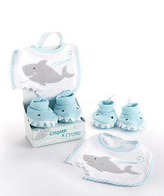 Love this Baby Aspen Chomp & Stomp Shark Bib & Booties Gift Set by Baby Aspen on #zulily! #zulilyfinds