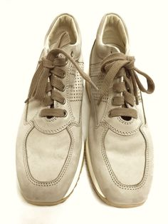 c2ba97229be HOGAN Beige Suede Perforated Logo Women Sneakers Shoes Size  35.5