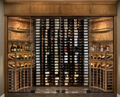 """A wine cellar """"walk-in"""" showcase designed & fabricated to fit the specifics of a private wine collection. #winecellarshowcase #winecollection"""