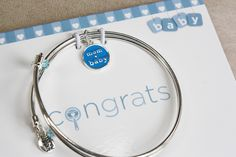 Congrats - Rattle - Keepsake Personalized Bangle Set for Mom or Mommy to be *PINK | BLUE | YELLOW