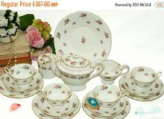 Your place to buy and sell all things handmade 3 Tier Cake Stand, China Tea Sets, Side Plates, Milk Jug, Tea Cup Saucer, Vintage Tea, All Pictures, Bone China, Pink Roses