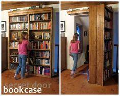 How to Build a Creative DIY Sliding Door Bookshelf #DIY #furniture #secre_room
