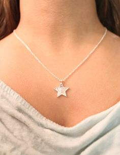 """Dainty 'n delightful Star Pendant Necklace on Choice of 16"""" or 18"""" chain + lobster clasp, in 18k Gold Plated or Silver Plated Finish"""