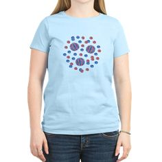 Women's Light T-Shirt With Red-Blue Polka Dots
