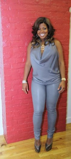 Chrissy Lampkin Love and Hip Hop Reunion Special Gray Patns