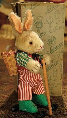German Mohair Mechanical Bunny on Wheels by Schuco, with Original Box.