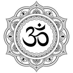 Illustration of Circular pattern in the form of a mandala. Decorative pattern in oriental style with the ancient Hindu mantra OM. Henna tattoo pattern in Indian style. vector art, clipart and stock vectors. Aum Tattoo, Ganesha Tattoo, Mandala Tattoo, Trippy Drawings, Tattoo Drawings, Mandala Drawing, Mandala Art, Tatuagem Aum, Arte Ganesha