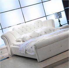 1.5 м 1.8 м белый европейский кожаный кровать для спальни # CE-095