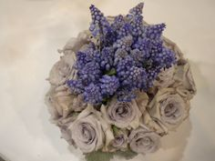 By ARTEFLORA DESIGN #wedding bouquet of blue muscari and Little Silver roses