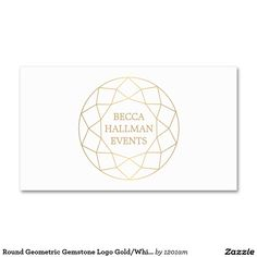 Round Geometric Gemstone Logo And Business Card For Event Planners Interior Designers Stylists