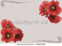 Frame with bright red poppies.Vector Illustration.