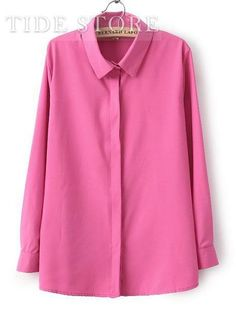 Shop Handsome Slim Turndown Collar Long Sleeve Pure Color Shirt on sale at Tidestore with trendy design and good price. Come and find more fashion Shirts here. Cheap Blouses, Blouses For Women, Women's Blouses, Pink Brand Shirts, Plain Tops, Chiffon Shirt, Collar Blouse, Wholesale Fashion, Cheap Dresses