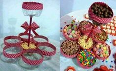 Candy holder made from soda bottles