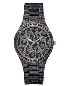 Guess Women   GUESS Watch, Women's Gunmetal Tone Animal Print Polycarbonate Bracelet ...