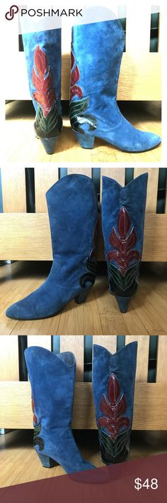 Arnold Churgin Vintage Italian boots. Awesome pair of Arnold Churgin boots.  Vintage Italian blue suede - stunning color with crimson and green appliqué on the heel and shaft of boot.  Euro 38 - fit a US 7. They are in great condition - minimal suede markings and fresh soles! 👌💙♥️💚 arnold churgin Shoes Heeled Boots