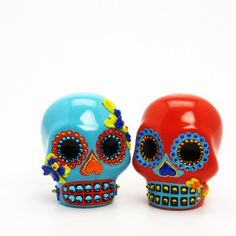 Love Ever After Skull Day of Dead Wedding Cake Toppers that double as salt and pepper shakers by sweetiecaketopper on artfire