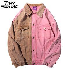 Chaquetas de mezclilla para hombre Vintage Color Block Patchwork chaqueta  Rosa Jeans Streetwear Hip Hop Denim 94d4a9847d0