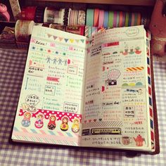 Midori week on 2 pages. Cute little doodles and stickers(?). Kind of looks like a Hobonichi Techo.