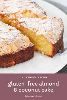 The easiest gluten-free almond and coconut cake recipe that takes just 10 minutes to prepare… and tastes AMAZING! - Gluten-Free Almond and Coconut Cake Gluten Free Coconut Cake, Almond Coconut Cake, Gluten Free Sweets, Almond Cakes, Gluten Free Cakes, Coconut Cakes, Almond Meal Cake, Almond Butter, Peanut Butter