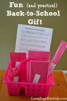 Fun and practical Back to School Gift ~ school supplies you'll need anyways wrapped up with a cute poem
