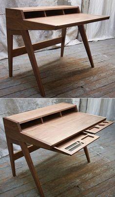 Pocket : Phloem Design's Laura Desk Furniture Design, Desk, Storage, House, Writing Table, Desktop, Home, Haus, Office Desk