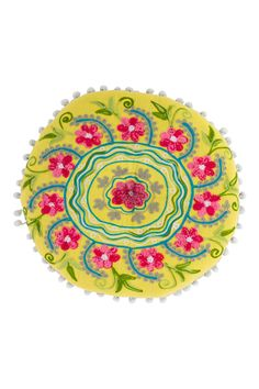 Round Botanical Cushion - Yellow by Karma Living on @HauteLook