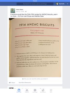 ANZAC biscuits - 1914 CWA recipe Recipe For Anzac Biscuits, Search People, Marble Cake, Wwi, Sweet, Recipes, Candy, Ripped Recipes