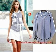 Creative Ideas to Repurpose Old Shirts into New Fashion - Men Shirt into Women Top repurpose or restyle men's shirts into something new such as tops, dresses for ladies or family. Ideas for re-making clothes Umgestaltete Shirts, Men's Shirts And Tops, Diy Clothing, Sewing Clothes, Clothing Patterns, Sewing Alterations, Clothing Alterations, Shirt Refashion, How To Make Clothes
